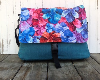Watercolor Flower Messenger Bag