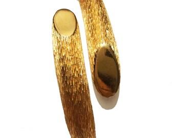 Vintage 70's Trafari Bark Texture Hinged Cuff Bracelet