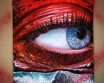 Trippy Eye original oil paint on 1/2 inch wood panel