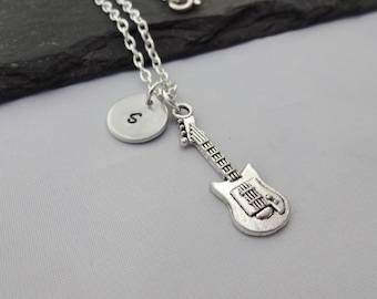 Initial Guitar Necklace, Guitar Necklace, Music Necklace, Charm Necklace, Music Gift, Guitar Gift, Personalised Music Gifts, Guitar Player