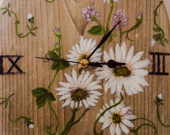 Clock | Wall Clock | Unique Wall Clock | White Daisies | Hand Painted | Unusual Clock | Wooden Clock | Home Accessories | Upcycled Timber