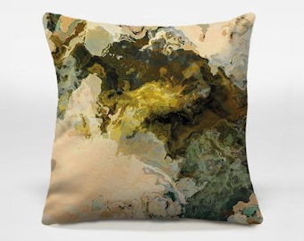 Throw pillow cover with abstract art, 16x16 and 18x18 brown, olive and beige decorative pillow cover, accent pillow cover, Out of It