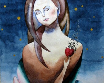 Girl illustration Woman Female watercolor decor Night painting on paper Girl artwork Stars art heart wall hanging blue brown painting gold