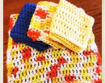 Crocheted Multicolor Cotton Wash Cloths