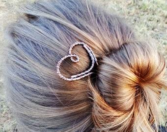 Rustic copper heart hair stick - Metal hair fork - Womens gift - Simple minimalist hair accessories - Womens gift