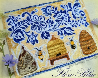 Flow Blue Design Flowers Bee Skeps Hives Honeybee Punch Needle Embroidery DIGITAL Jpeg and PDF PATTERN Michelle Palmer Painting w/Threads