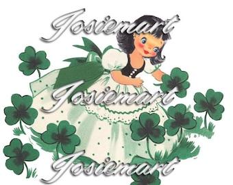 Vintage Digital Download Irish Girl Shamrock St. Patrick Vintage Image Collage Large JPG Clipart