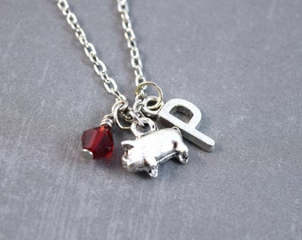 Tiny Pig Necklace - Pig Jewelry - Animal Necklace - Nature Jewelry - Pet Jewelry - Personalized Initial Jewelry - Piggy Necklace