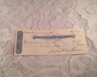 Antique Check Eastern Trust and Banking Company of Bangor Maine issued in 1895 John Keller Ames Lumber