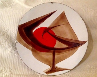 """Plate enamel """"Anita Trottier"""" signed - stylized bird and Sun - Quebec artist - 1970's crafts / / made in Quebec"""