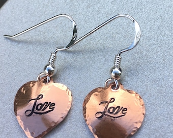 Sterling Silver and copper earrings, handmade\handstamped.