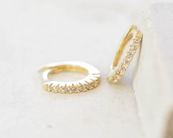 Thin Mini Ear Huggie Hoop Earrings, GOLD - micro pave cz cartilage hoops - Different Sizes Available