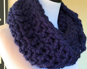 Montreal Hand Crocheted Bulky Infinity Cowl in Inky Navy Blue - Trendy Circular Scarf