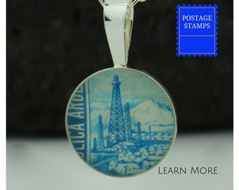 Oil Rig Charm. Perfect Sterling Silver Oil Rig Pendant featuring a Vintage Argentinian Postage Stamp. Perfect Present for Her.