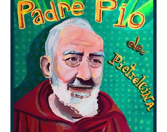 Padre Pio ... giclee art print • saint • hand lettered • typography • words • green • pattern • italian • portrait • series • pietrelcina