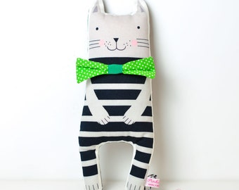 cat cloth doll in black and gray stripes with bow tie