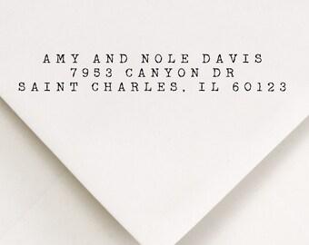 Typewritten Address Stamp, Typewriter Stamp, 3-Lines, Typography Stamp, Vintage Type, Modern Stamp, Wedding Address, DIY Stationery (503)