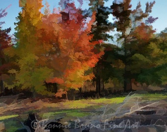 AUTUMN SPLENDOR  landscape giclee print, digital painting, painted photo, red orange gold green trees, fall colors wall decor