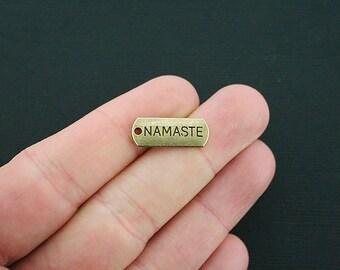 8 Namaste Charms Antique Bronze Tone Tag - BC572