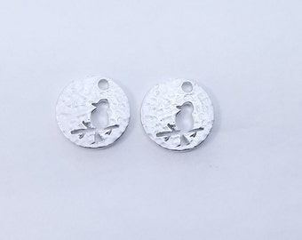 4 pc - 11mm - Silver Round Hammered Bird Charm, Pendant - PC-0253