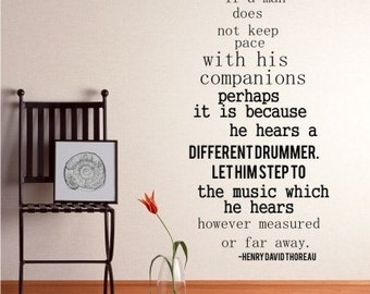 Different Drummer Wall Decals Quote Henry David Thoreau - Vinyl Wall Words Custom Home Decor