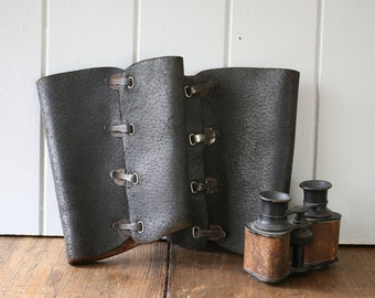 Leather Military Gaiters Boot Covers Black Spats Chaps World War Army Issue Calvarymen