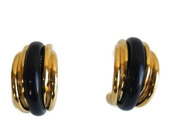 Vintage Trifari Earrings Gold Tone Ribbed Dangling Pierced Ear Curved Signed Costume Jewelry Half Hoop