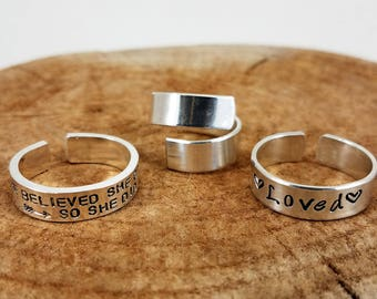 "Sterling Silver Wrap Rings - 1/4"" Single or Double; Custom, Hand-Stamped, Personalize"