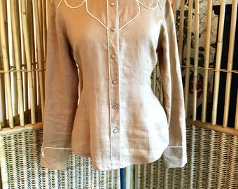 Vintage 90s Western Cowgirl Blouse in Linen with Pearl Snap Buttons