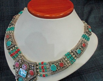 Hand Made, 23 year old, South American Jewelry, Turquoise, Coral and Lapis. Beautiful Created Necklace, Excellent Condition.  L-1 2027a