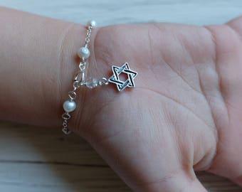 Jewish star Baby Bracelet Star of David Bracelet baby naming gift jewish child Gift jewish star Jewelry bat mitzvah gift bar mitzvah gift
