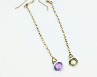 Delicate Pendulum Gold-Filled Ametrine Earrings