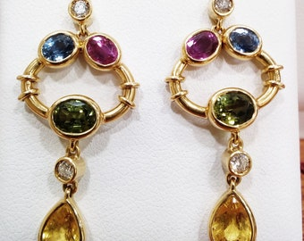 Yellow Gold Earrings with Diamonds and Tourmalines