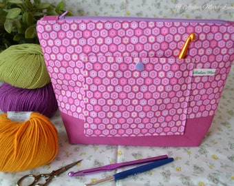Medium sized project bag, zip WIP bag, zipper crochet project bag, knitting WIP bag, yarn pouch, gift for yarnoholics, 1 skein project-bag