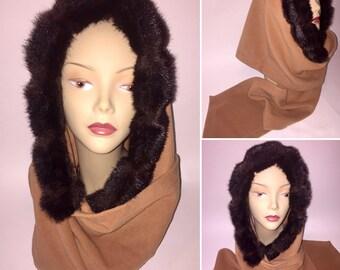 Vintage 1950s 1960s Tan Wool and Faux Fur Hood Scarf Hooded Scarf Wrap