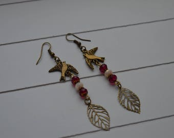 """Sofia"" beige and red crystal earrings"