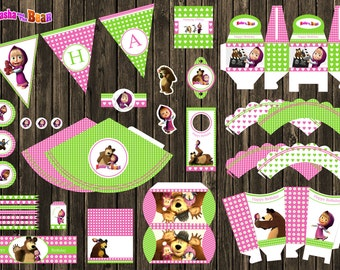 Masha and the Bear e orso Birthday Party Decor, Digital Birthday, Kids Birthday Party Decorations, party supplies, cupcake toppers, banner