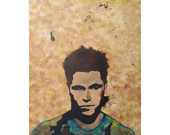 Framed & Ready To Hang Tyler Durden Fight Club Pop Art Spray Stencil Painting of Brad Pitt Lowbrow Artwork