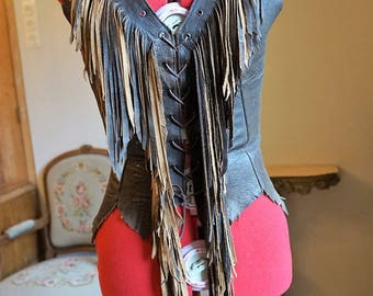Leather Hippie Vest with Fringes made to order