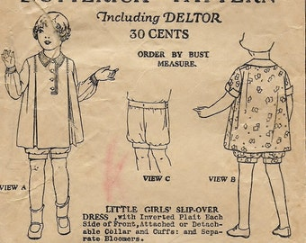 """A 1920's Slip-Over, Inverted Plait Dress w/Detachable Collar & Cuffs and Bloomers* Pattern for Children Age 3 Breast 22"""" • Butterick 6997"""