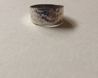 Hammered Shield - Hand Forged Silver Shield Ring Size 9.25