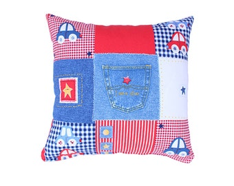 Car Jeans Denim Pillow Cover- Blue,Red,White