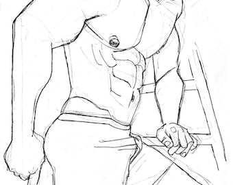 Muscle Guy in Shorts and Ballcap, 11x17 original pencil drawing of muscular shirtless young man