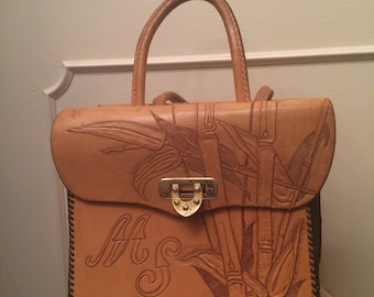 Vintage 50s 60s Hand Tooled Blond Leather Handbag FREE US Shipping