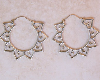 Lotus petal earrings, sacred geometry jewellery, gold effect earrings, boho earrings, bohemian jewellery, gypsy style, yoga, spiritual jewel