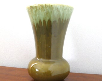 Large Olive Green Vase Lava Drip Glaze Pea Green Sea Foam Wide Mouth Mid Centruy Modern Vase CLEARANCE