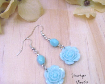 Rose Earrings, Floral Earrings, Pastel Earrings, Aqua Earrings, Floral Jewelry, Spring Jewelry, Summer Jewelry, Dangle Earrings