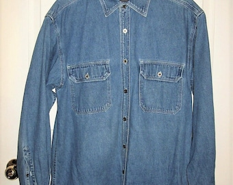 Vintage Men's Blue Jean Denim Long Sleeve Shirt by Route 66 Medium Only 9 USD