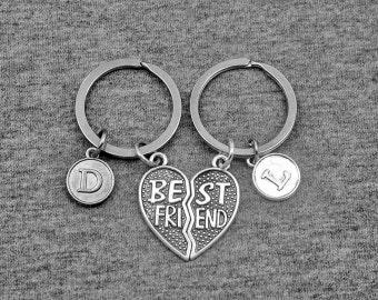 Best Friend Key chain -Friendship Keychain -Initial Keychain -Your Choice of A to Z