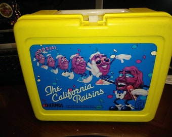 Vintage The California Raisins Yellow Plastic Lunch Box No Thermos